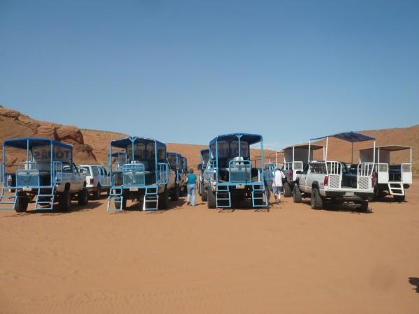 Los todoterrenos que nos llevaron hasta el Antelope Canyon