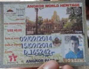 Ticket de entrada a los templos de Angkor