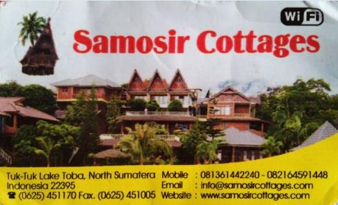 Tarjeta del hotel Samosir Cottages