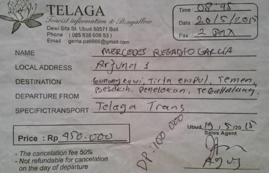 Comprobante Tour por Bali en coche privado