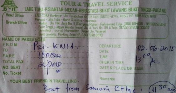 Ticket de vuelta en coche privado hasta Medán