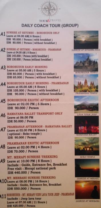 Panfleto con los precios de los tours