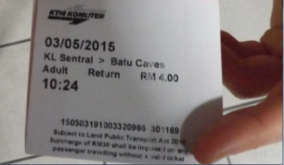 Ticket para las Batu Caves