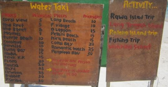 Precios de los taxis desde Perhentian Island Resort