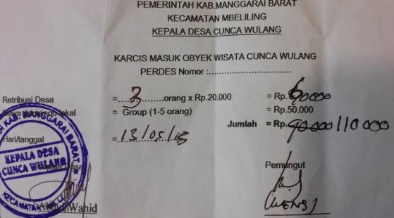Ticket Cascadas Cunca Wulang