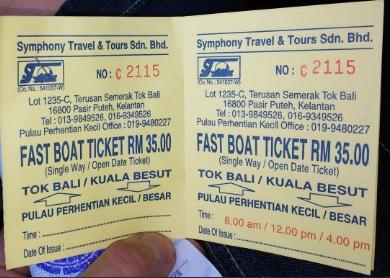 Ticket Fast Boat, Kuala Besut - Perhentians Ida y Vuelta