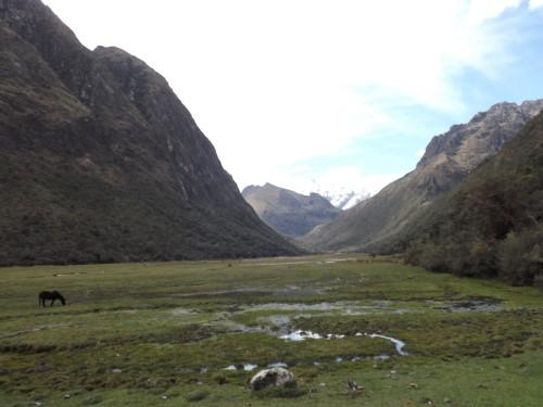 Quebrada de Huaripampa y al fondo aún el Taulliraju