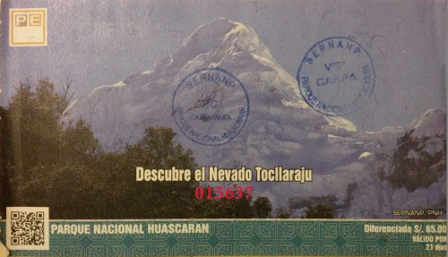 Ticket Parque Nacional Huascaran