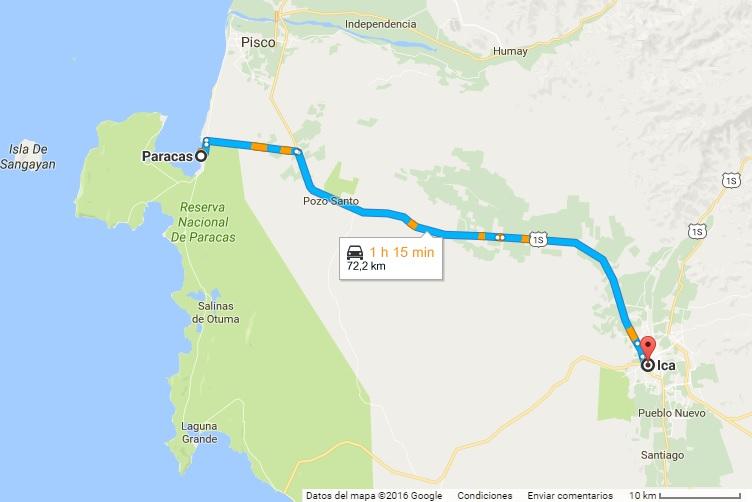 1 hora de trayecto de Paracas a Ica