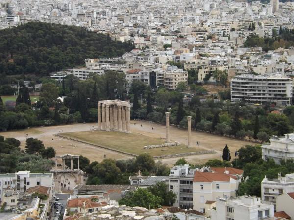 El templo de Zeus desde el Acrópolis